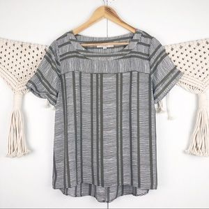 ⭐️ LOFT green white stripe short sleeve blouse XS